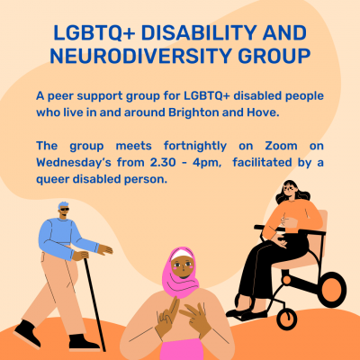 Orange background with illustrations of different disabled people including mobility aid users and a deaf person signing. The text reads 'Switchboard LGBTQ+ Disability Group'.